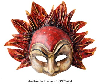 Venetian Interior and carnaval mask embodying the element of fire, isolated on white  background.  Handmade Papier-mache with acrylic paints,  plaster, lacquer
