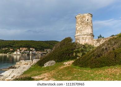 Venetian lighthouse in the Fiscardo village on Kefalonia island