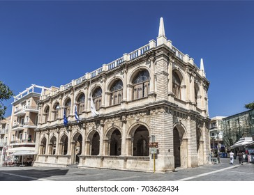 The Venetian loggia on 25th of August street. Now it houses the town hall. Heraklion, Crete, Greece