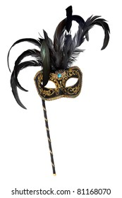 Venetian mask with handle, isolated on white background.