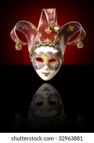 Venetian mask. On a black background
