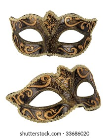 Venetian mask on white background with clipping paths