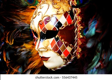 Venetian mask with plumage. Toned photo.