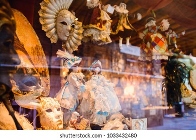 The venetian mask in the window of a souvenir shop in Venice, Italy