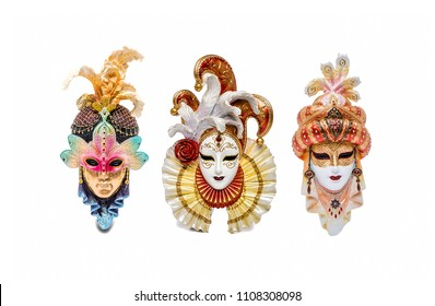 Venetian masks for carnival in Venice, Italy. Venice mask isolated on white background