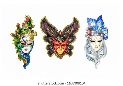 Venetian masks for carnival in Venice, Italy isolated on white background. Venice carnival masks