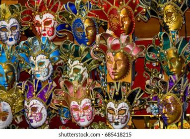 Venetian masks made of painted ceramic.