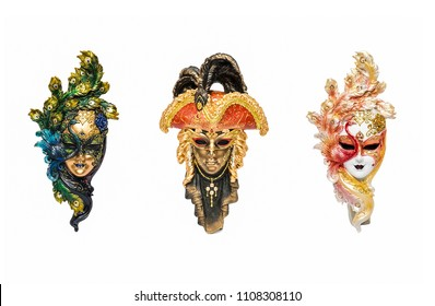 Venetian masks for masquerade in Venice, Italy isolated on white background. Venice masquerade mask