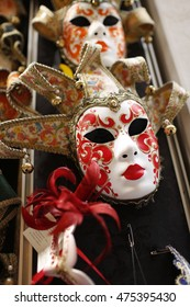Venetian masks in store display in Venice-Italy