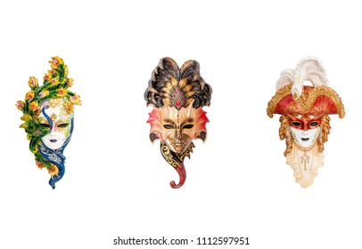 Venetian masquerade masks isolated on white. Venice masks for carnival in Venice, Italy