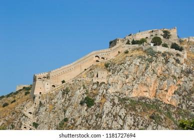 venetian Palamidi Fortress on a steep hill on Nafplio, Greece