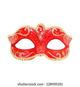 Venetian red carnival mask closeup