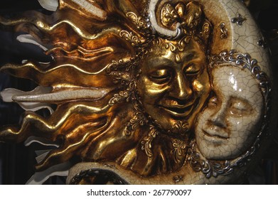 Venetian Sun and Moon wall mask