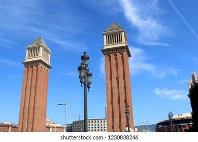 The Venetians Towers at Plaza de España in Barcelona, Spain.