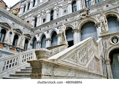 Veneto region, Venice, Italy - March 21, 2010 - Giant's stairway (Scala dei Giganti), surrounded by two colossal statues of Mars and Neptune, in the yard of Palazzo Ducale (Doge's Palace)
