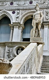 Veneto region, Venice, Italy - March 21, 2010 - Statue of Mars, the god of wars, on Giant's stairway (Scala dei Giganti) in the yard of Palazzo Ducale (Doge's Palace)