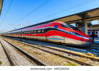 VENEZIA, ITALY - 20 APRIL 2018 - High speed train, Frecciarossa 1000 (also known as ETR 1000) at Venezia Santa Lucia (Venice main station) in Italy