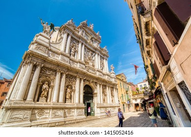 VENEZIA, ITALY – MAY 31, 2019: tourists visiting and enjoying the church of Santa Maria del Giglio in Venezia