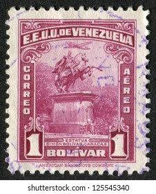 VENEZUELA- CIRCA 1942: Postage stamp printed in Venezuela shows Statue of Simon Bolivar, Caracas. Scott Catalog C156 AP16, circa 1942