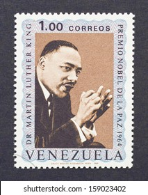 VENEZUELA - CIRCA 1969: a postage stamp printed in Venezuela showing an image of Nobel Peace prize winner Martin Luther King Jr., circa 1969.