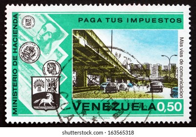 VENEZUELA - CIRCA 1974: a stamp printed in the Venezuela shows Highway and Overpass, Pay Your Taxes Campaign, circa 1974