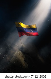 Venezuela flag standing with triumph after a disaster.