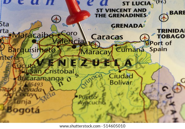 Venezuela Map Red Pin On Caracas Stock Photo Edit Now 514605010