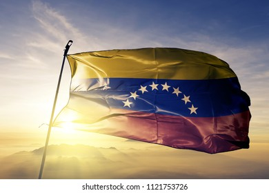 Venezuela national flag textile cloth fabric waving on the top
