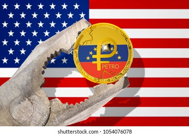 Venezuela PETRO (PTR) gold coin being squeezed in vice on the United States (USA) flag background; el petro cryptocurrency under pressure