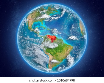 Venezuela in red on model of planet Earth with clouds and atmosphere in space. 3D illustration. Elements of this image furnished by NASA.
