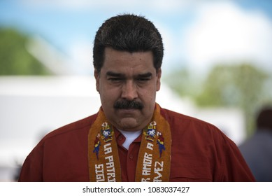 Venezuela, Tucupita, Delta Amacuro. April 24, 2018. The president of Venezuela Nicolás Maduro participates in a press conference at the Tucupita airport (east), in an election campaign activity.