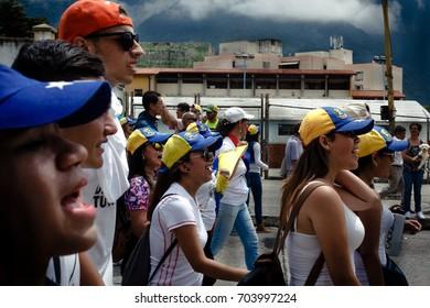 MÉRIDA, VENEZUELA - Venezuelan students protests against Nicolás Maduro's regime  and it's corrupt Government.