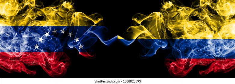 Venezuela vs Colombia, Colombian smoky mystic flags placed side by side. Thick colored silky smoke flags of Venezuela and Colombia, Colombian.