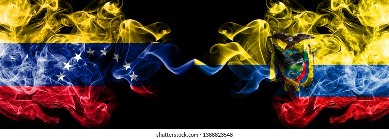 Venezuela vs Ecuador, Ecuadorian smoky mystic flags placed side by side. Thick colored silky smoke flags of Venezuela and Ecuador, Ecuadorian.
