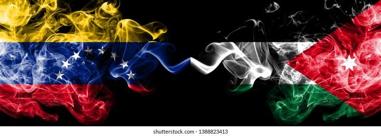 Venezuela vs Jordan, Jordanian smoky mystic flags placed side by side. Thick colored silky smoke flags of Venezuela and Jordan, Jordanian.