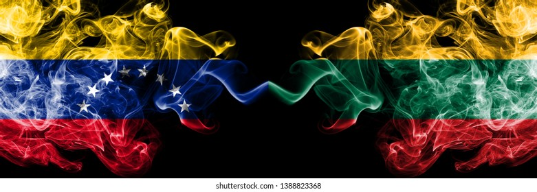 Venezuela vs Lithuania, Lithuanian smoky mystic flags placed side by side. Thick colored silky smoke flags of Venezuela and Lithuania, Lithuanian.