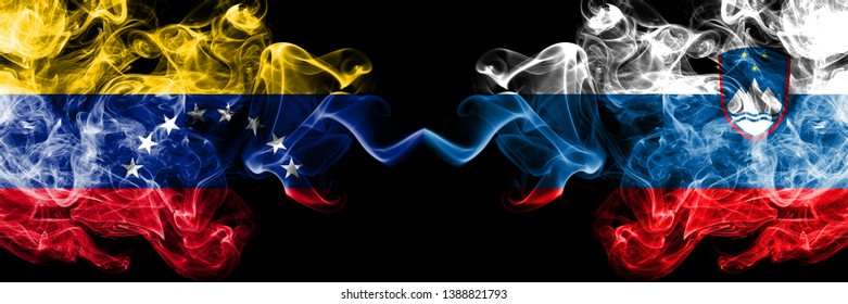 Venezuela vs Slovenia, Slovenian smoky mystic flags placed side by side. Thick colored silky smoke flags of Venezuela and Slovenia, Slovenian.