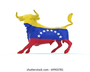 venezuelan bull with flag, 3d illustration