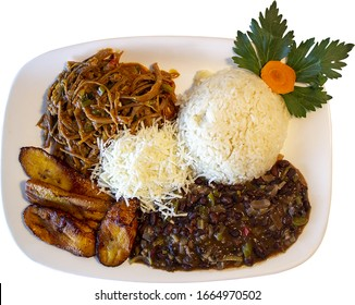 Venezuelan flag meatloaf, rice, caraota, fried plantain and cheese