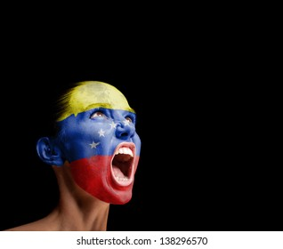 The Venezuelan flag on the face of a screaming woman. concept