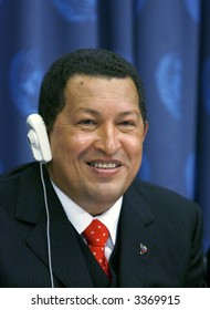 Venezuelan president Hugo Chavez at the United Nations in New York