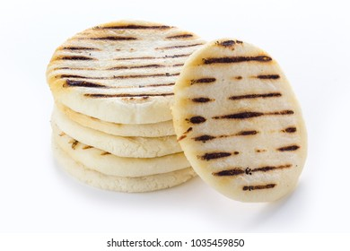 Venezuelan traditional food, arepas on a white background.