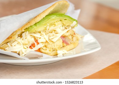 Venezuelan typical food, Arepa, Different types of arepas, meat, black beans, cheese, fried plantain, typical South American food