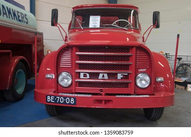 VENHUIZEN, THE NETHERLANDS – MARCH 2 , 2018 :Front of a Old daf truck with tank this is used for fuel transportation