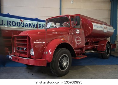 VENHUIZEN, THE NETHERLANDS – MARCH 2 , 2018 : Old daf truck with tank this is used for fuel transportation