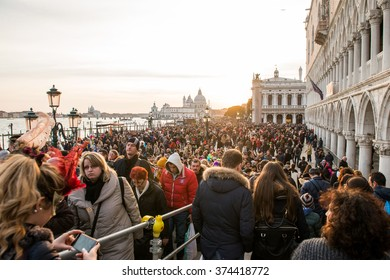 VENICE 7 FEBRUARY 2016 - Many tourists flock to Venice during the carnival - VENICE 7 FEBRUARY 2016. ITALY