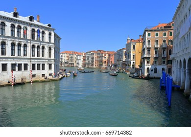 Venice - April 10, 2017: The view on Grand Canal (Canal Grande), on April 10, 2017 in Venice, Italy