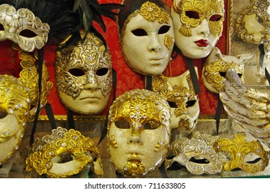 Venice, IT - August 29, 2017 - Masks used for the usual carnival parade in Venice, Italy