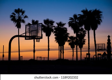 Venice Beach Basketball Court at Sunset