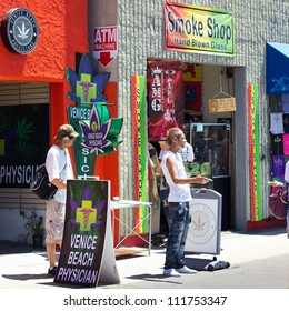 VENICE BEACH, CA - AUG. 14:  Typical medical marijuana dispensary on the boardwalk of Venice Beach CA on Aug. 14, 2012. In 1996 California was the first state to establish a medical marijuana program.